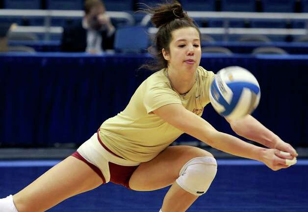 Florida State's All-America outside hitter, Jakaterina Stepanova, practices at the Alamodome on Wednesday. Photo: TOM REEL, SAN ANTONIO EXPRESS-NEWS / © 2011 San Antonio Express-News