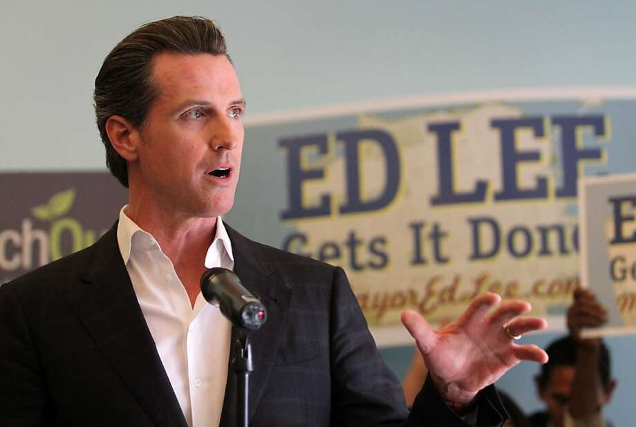 Lt. Governor Gavin Newsom endorses interim San Francisco Mayor and mayoral candidate Ed Lee during and endorsement speech on Monday, Oct. 24, 2001, in San Francisco, Calif. Photo: Mathew Sumner, Special To The Chronicle