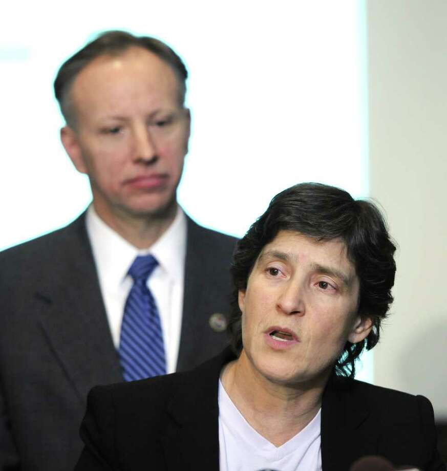 Elizabeth Glazer, Governor's Deputy Secretary for Public Safety announced a new tool to assist local law enforcement in the fight against domestic violence at a press conference held by DA Jim Murphy in Ballston Spa, N.Y. Dec. 14, 2011.       (Skip Dickstein/Times Union) Photo: Skip Dickstein / 2011