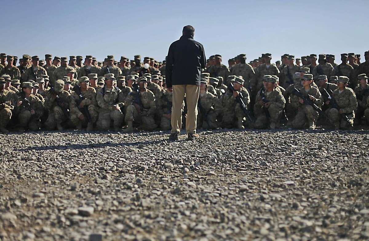 U.S. Sec. of Defense Leon Panetta, center, speaks to military personnel of the 172nd Infantry Brigade Task Force Blackhawks at a forward operating base in Sharana, Afghanistan,Wednesday, Dec., 14, 2011. (AP Photo/Pablo Martinez Monsivais, Pool)