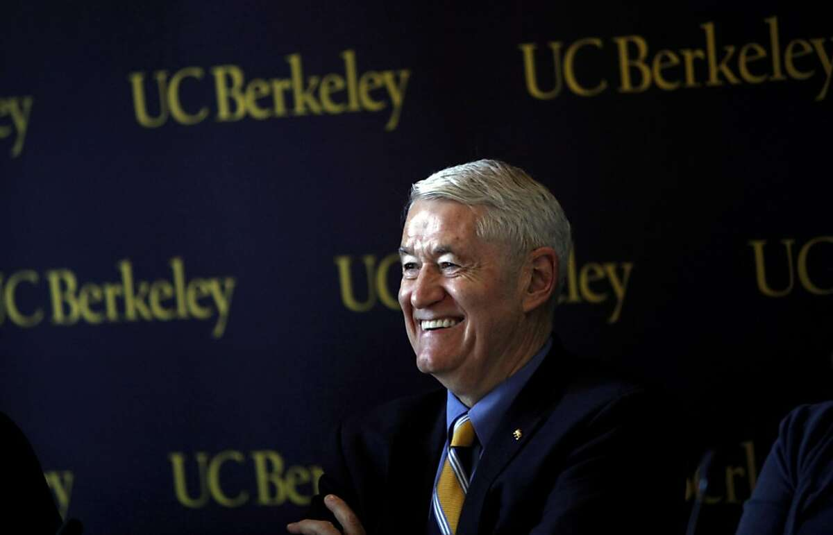 UC Berkeley chancellor Robert Birgeneau is all smiles during a press conference where officials from UC Berkeley announced new tuition help for middle class families in Berkeley, Calif., Wednesday, December 14, 2011.