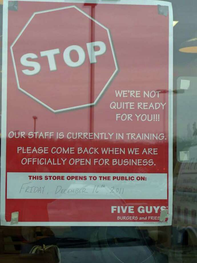 Five Guys Burgers and Fries is ready to open Friday in the Kings Crossing shopping center. Photo: Genevieve Reilly / Fairfield Citizen