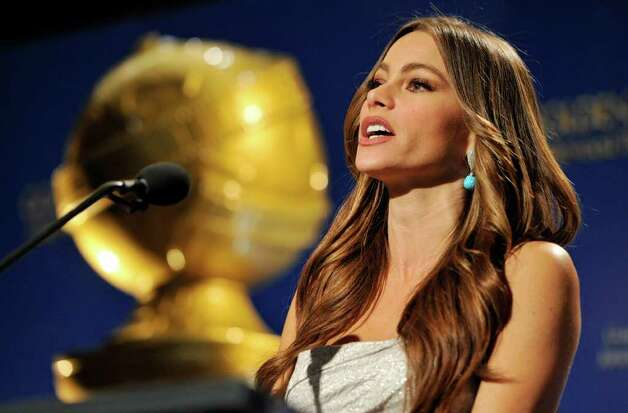 Presenter Sofia Vergara announces nominations for the 69th Annual Golden Globe Awards, Thursday, Dec. 14, 2011, in Beverly Hills, Calif. The Golden Globe Awards will be held on Sunday, Jan. 15, 2012, in Beverly Hills, Calif. (AP Photo/Chris Pizzello) Photo: Chris Pizzello