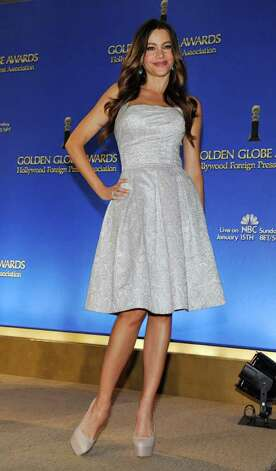 Presenter Sofia Vergara poses after helping to announce nominations for the 69th Annual Golden Globe Awards, Thursday, Dec. 14, 2011, in Beverly Hills, Calif. The Golden Globe Awards will be held on Sunday, Jan. 15, 2012, in Beverly Hills, Calif. (AP Photo/Chris Pizzello) Photo: Chris Pizzello