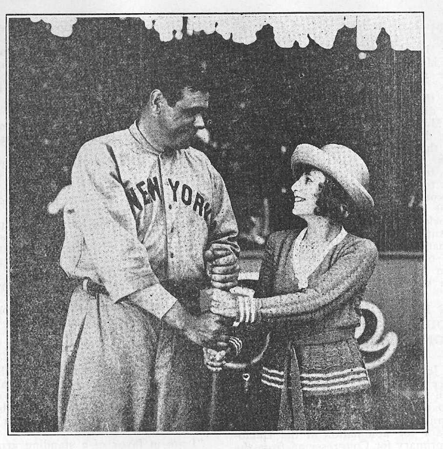 "New York Yankees slugger Babe Ruth was filmed for ""Little Bluebonnet"" (1922) with the star, Blanche McGarity, when he was in San Antonio for a game at League Park. From the June 1922 issue of The Pioneer Magazine of Texas. Photo: COURTESY SAN ANTONIO PUBLIC LIBRARY / The Pioneer Magazine of Texas"