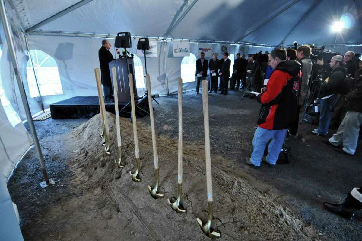 Bethlehem Town Supervisor Sam Messina helps announce the start of construction of a new ShopRite supermarket at the Vista Technology Campus at Vista Boulevard, on Thursday Dec. 15, 2011 in Slingerlands, N.Y. (Philip Kamrass / Times Union )