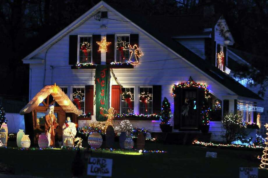 view of christmas lights on andover road at the home of the jerry family on thursday