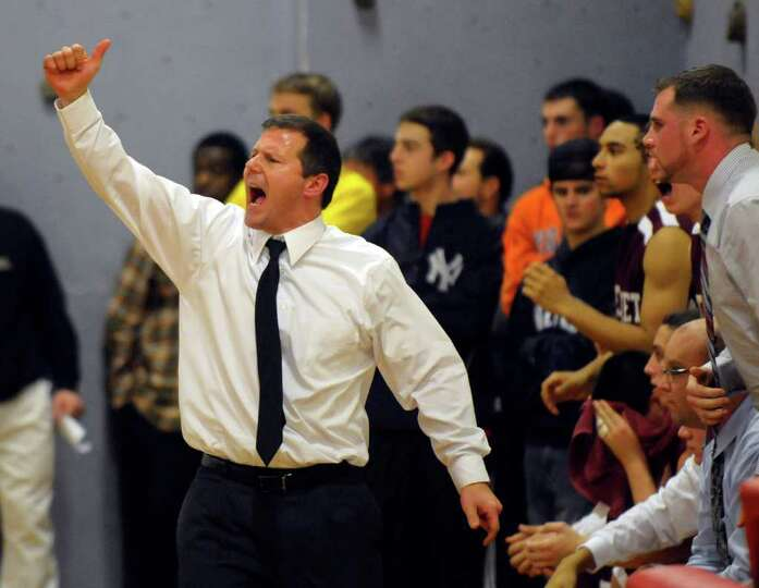 Watervliet head coach Orlando DiBacco coaches his team against Albany Academy during their High Scho