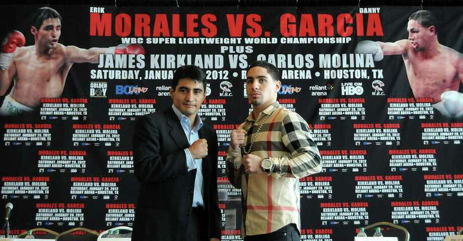 DAVE ROSSMAN: FOR THE CHRONICLE DUKES UP: WBC super lightweight champion Erik Morales, left, will defend his title against contender Danny Garcia on Jan. 28 at Reliant Arena. Photo: Dave Rossman / © 2011 Dave Rossman