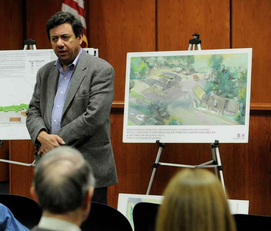 Paul Landino of Project Service LLC speaks during the state Department of Transportation public information meeting Thursday night, Dec. 15, 2011, at Town Hall on rest stop upgrades of rest  plazas on the Merritt Parkway in Greenwich. The overhauls, in addition to new fuel pumps, are planned to include Subway and Dunkin? Donuts restaurants. Additional parking and welcome centers for motorists are also planned. Photo: Bob Luckey / Greenwich Time