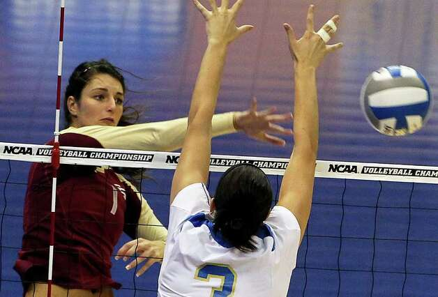 SPORTS   Rachael Morgan hits for the Seminoles as UCLA plays Florida State in a  2011 NCAA National Semifinal match at the Alamodome on December 15, 2011 Tom Reel/Staff Photo: TOM REEL, SAN ANTONIO EXPRESS-NEWS / © 2011 San Antonio Express-News