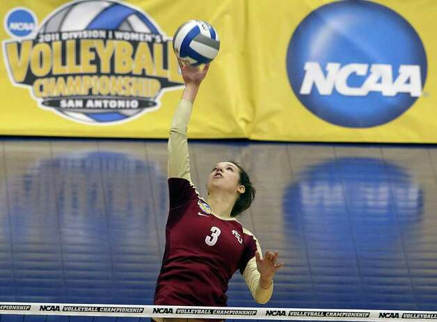 SPORTS   Jekaterina Stepanova hits for the Seminoles as UCLA plays Florida State in a  2011 NCAA National Semifinal match at the Alamodome on December 15, 2011 Tom Reel/Staff Photo: TOM REEL, SAN ANTONIO EXPRESS-NEWS / © 2011 San Antonio Express-News