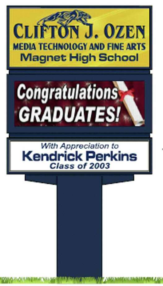 Graduate Kendrick Perkins donated the money for the sign at Ozen High School. Photo: Provided