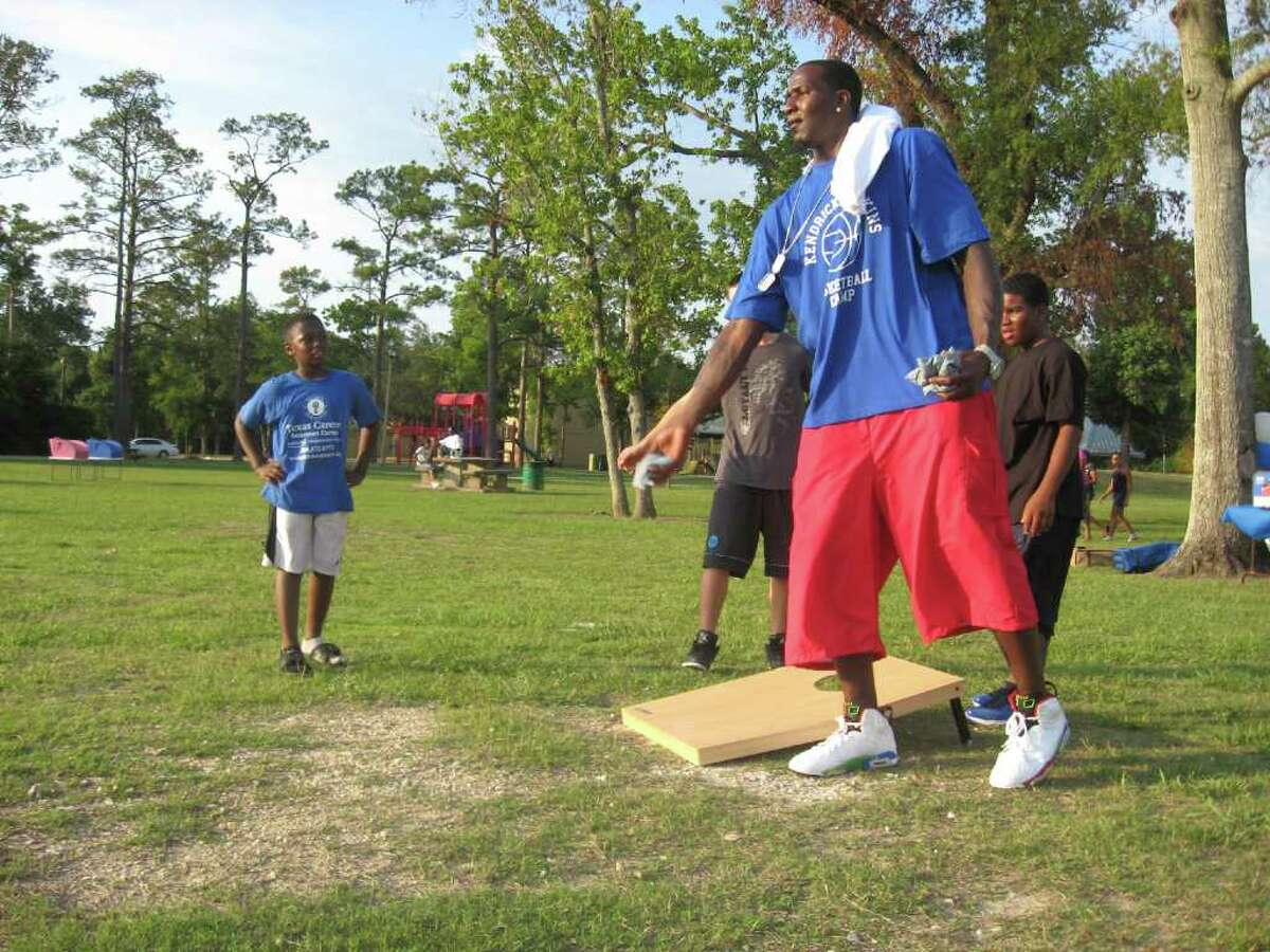 Oklahoma City Thunder center Kendrick Perkins was at Rogers Park on Friday to greet kids who were signing up for his Kendrick Perkins Basketball Camp. The former Ozen star will conduct the camp August 10 to 12 at Ozen.