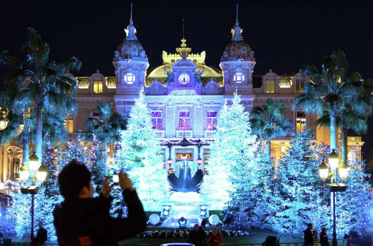 A picture shows the Christmas lights in front of the Monte-Carlo Casino.