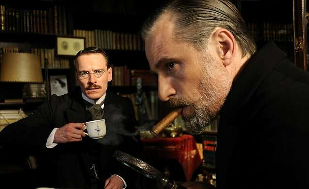 "Michael Fassbender as Carl Jung and Viggo Mortensen as Sigmund Freud in, ""A Dangerous Method."" Photo: Liam Daniel, Sony Pictures Classics"