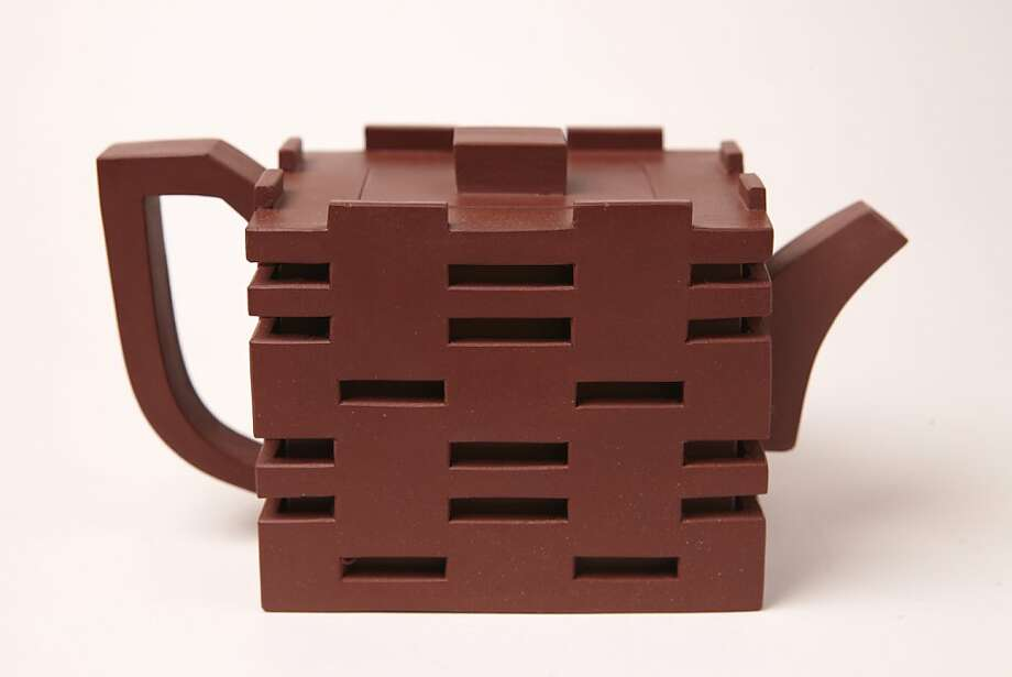 """Double Happiness"""" teapot at Teance in Berkeley is irresistible not the least for its surprise Bauhaus DNA. Photo: Yixing"""