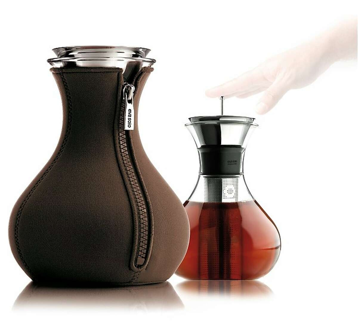 A multi-tasker teamaker that is a carafe and can wear a neoprene zipper cover, is from Eva Solo of Copenhagen.