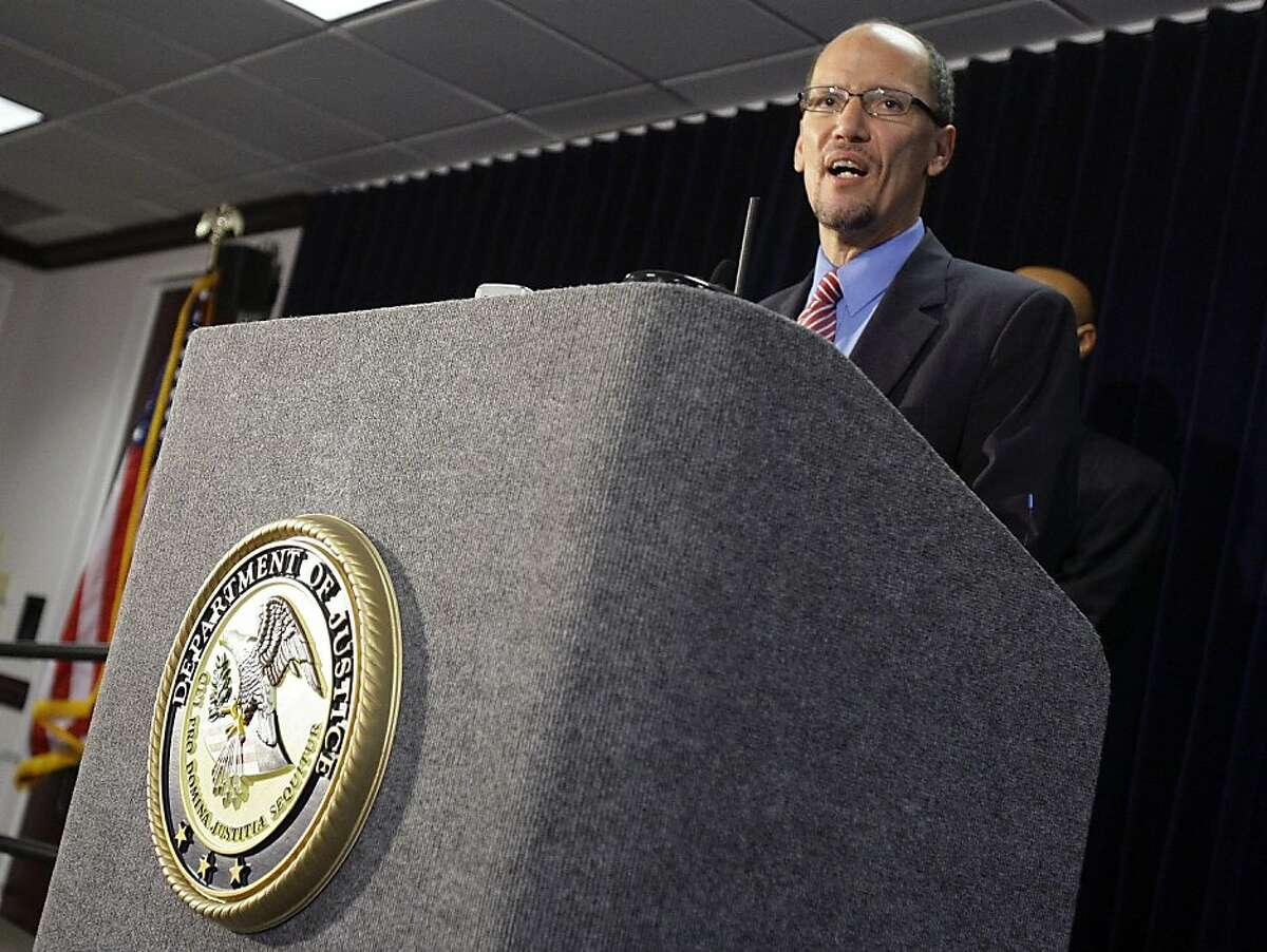 Department of Justice Attorney General for the Civil Rights Division Thomas E. Perez announces the department's findings following an investigation into the Maricopa County Sheriff's Office, lead by controversial Sheriff Joe Arpaio, during a news conference Thursday, Dec. 15, 2011 in Phoenix. The Justice department says it has reasonable cause to believe Maricopa County Sheriff's Office has engaged in a pattern of misconduct that violates federal and Constitutional law. (AP Photo/Paul Connors)