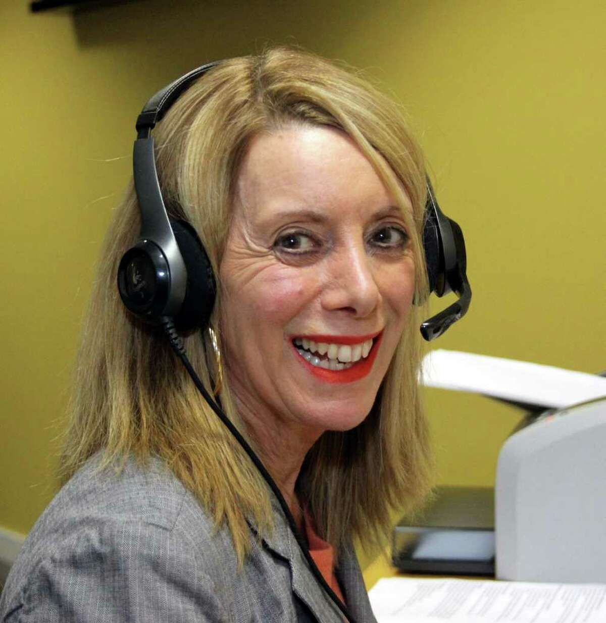 """Marilyn Gansel is all smiles shortly before airing her Thursday evening show, """"What's Weighing You Down?"""" Photo taken December 15, 2011."""