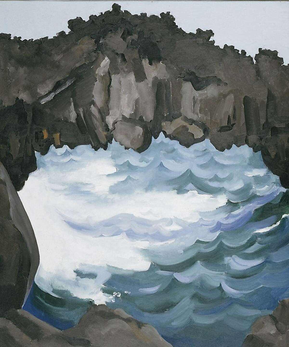 """Georgia O'Keeffe's """"Black Lava Bridge, Hana Coast, No. 1"""" is a 24x20-inch oil on canvas that came out the artist's trip to Maui and three other Hawaiian islands over nine weeks in 1939."""