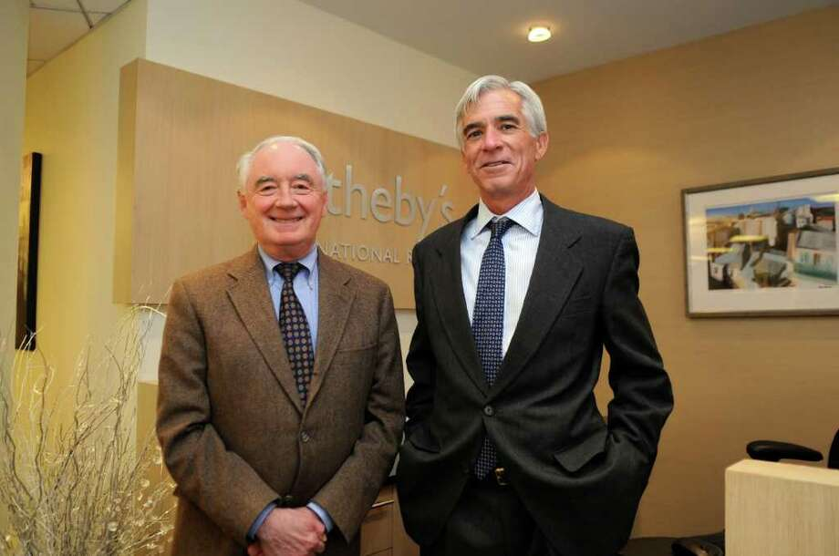 Tom Gorin, left, president of Cleveland, Duble & Arnold, and Robert Bland, manager of Sotheby's International Realty, at Sotheby's in Greenwich Wednesday, 14, 2011. Photo: Helen Neafsey / Greenwich Time