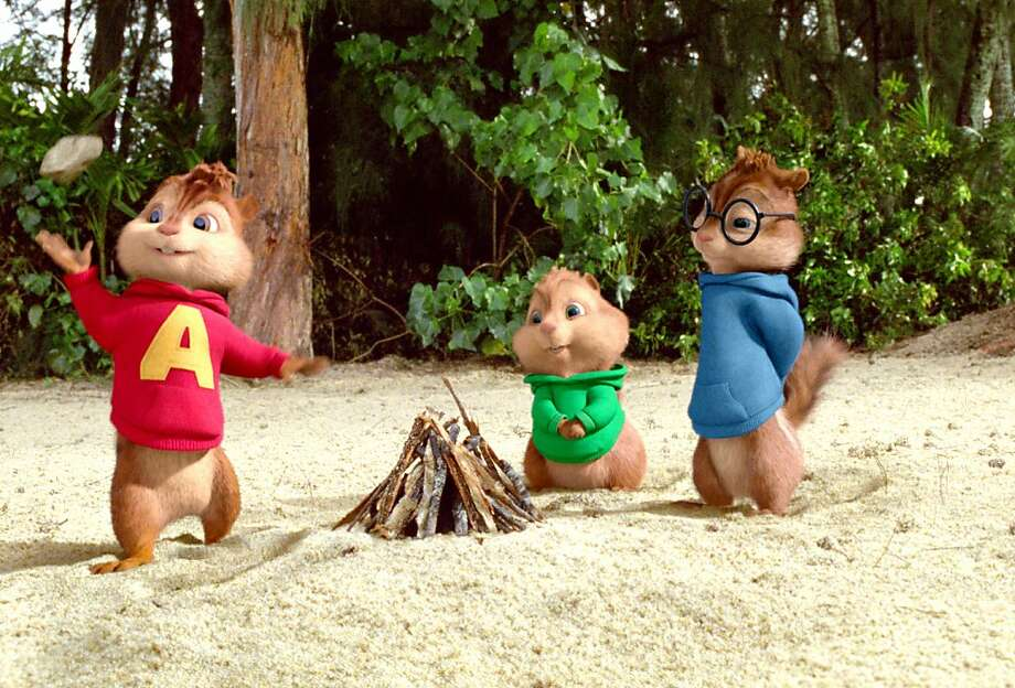 "In this image released by 20th Century Fox, the character Alvin, voiced by Justin Long, Theodore, voiced by Jesse McCartney and Simon, voiced by Matthew Gray Gubler are shown in a scene from ""Alvin and the Chipmunks: Chip-wrecked!"" (AP Photo/20th Century Fox) Photo: Courtesy Twentieth Century Fox, AP"