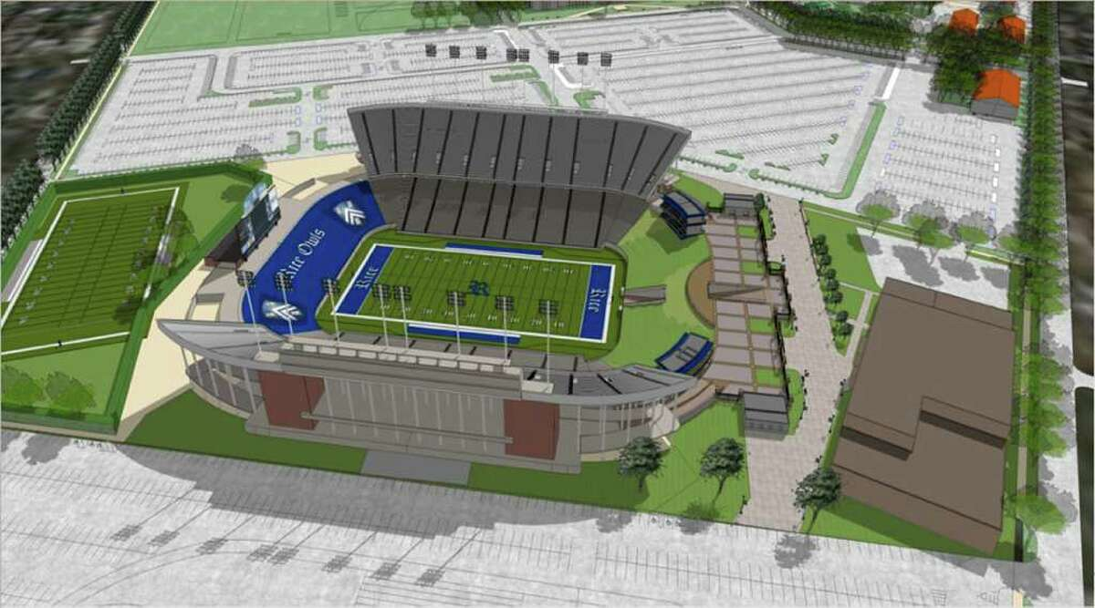 PLANNING PHASE: An artist's rendering shows a new facility near the end zone, suites and a plaza at Rice Stadium.