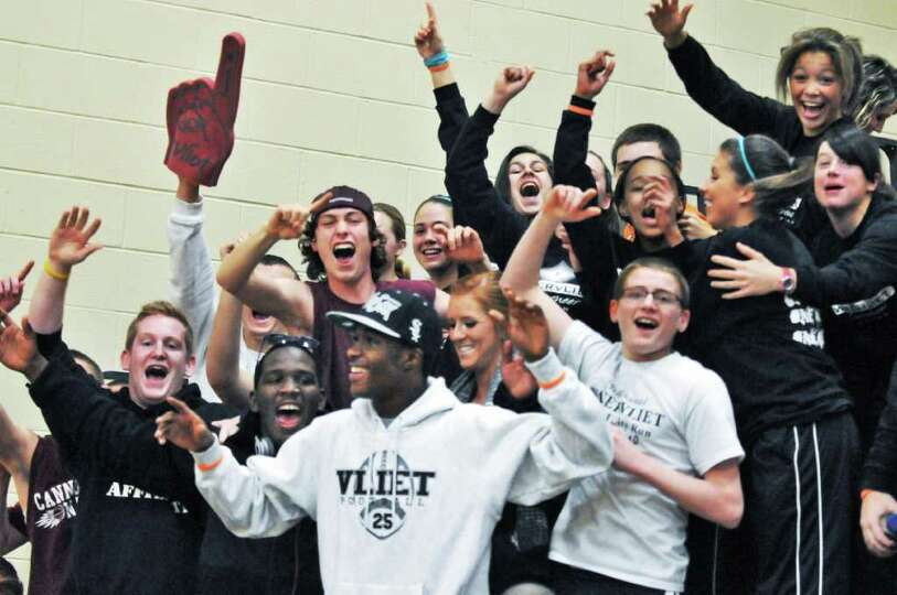 Watervliet fans cheer during  game with Holy Names Friday night at  the Academy of the Holy Names De