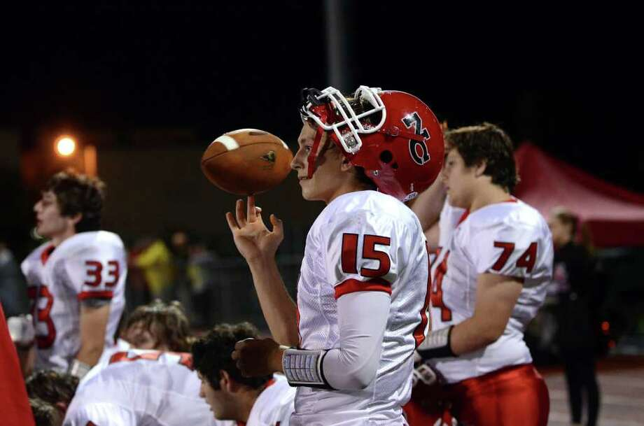 New Canaan quarterback Matt Milano made a commitment to play football at Middlebury College Saturday. Photo: Amy Mortensen / Connecticut Post Freelance