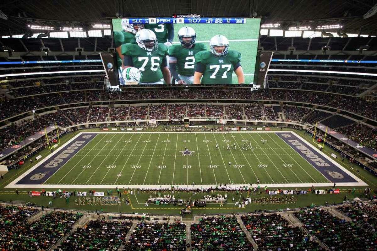 Location: AT&T StadiumCity: DallasDimensions: 180 x 72 feetSize: 11,520 square feetRelated: Jaguars mock Cowboys, Texas video boards