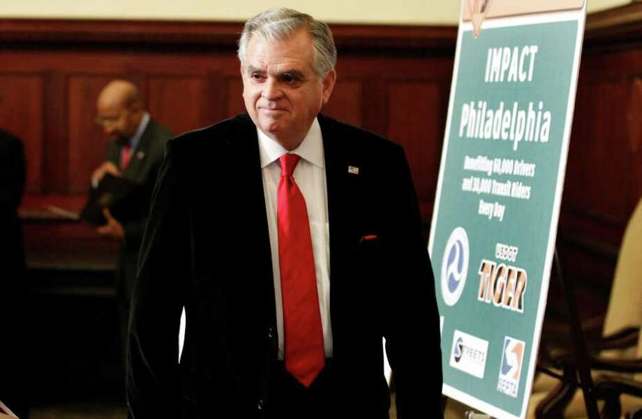Secretary of Transportation Ray LaHood arrives for a media availability to announce $10 million for an IMPaCT Philadelphia project from the Department of Transportation, Thursday, Dec. 15, 2011 in Philadelphia. (AP Photo/Alex Brandon) Photo: Alex Brandon