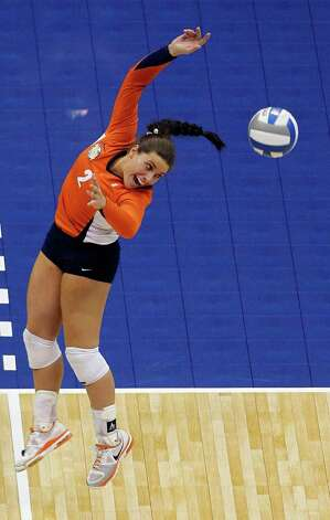 Illinois' Rachel Feldman cannot reach a ball hit by UCLA during game action of the 2011 NCAA Division I Women's Volleyball National Championship Match at the Alamodome on Saturday, Dec. 17, 2011. UCLA won in four sets, 25-23, 23-25, 26-24, 25-16. MICHAEL MILLER / mmiller@express-news.net Photo: MICHAEL MILLER, Express-News / mmiller@express-news.net