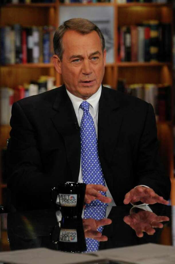 """In this Sunday, Dec. 18, 2011, photo provided by NBC News, Speaker of the House, Rep. John Boehner, R-Ohio, appears on NBC's """"Meet the Press"""" in Washington. House Republicans said Sunday they oppose a bipartisan, Senate-approved bill that extends a payroll tax cut and jobless benefits for just two months and said congressional bargainers need to write a new version lasting a longer time. """"It's pretty clear I and our members oppose the Senate bill,"""" Boehner said, adding, """"I believe two months is just kicking the can down the road."""" Photo: AP"""