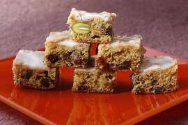 Apricot-Pistachio Bars as seen in San Francisco, California on Wednesday, November 30, 2011. Food styled by Sunny Liu.