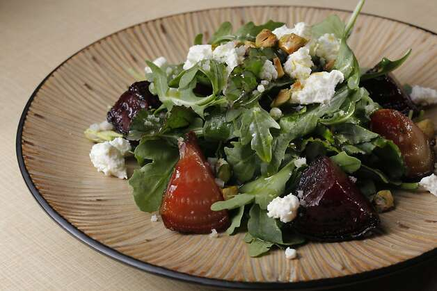 Roasted Beet Salad with fresh cheese, toasted pistachios and pistachio oil as seen in San Francisco, California on Wednesday, November 30, 2011. Photo: Craig Lee, Special To The Chronicle