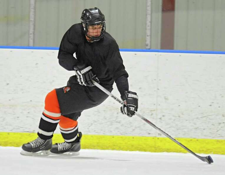 Bethlehem High School hockey player Nicholas Parente during practice at the Bethlehem YMCA on Wednes