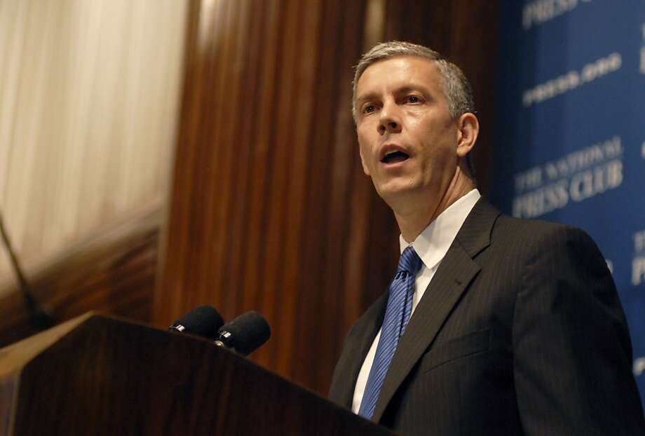 Education Secretary Arne Duncan announces finalists for the second phase of the Race to the Top competition at the National Press Club on Tuesday, July 27, 2010 in Washington, D.C.   Ran on: 07-28-2010 Arne Duncan Ran on: 07-28-2010 Arne Duncan  Ran on: 10-22-2010 As U.S. education secretary, Arne Duncan oversees the federal Race to the Top program to improve the nation's schools. Photo: Meredith McDermott, Hearst Newspapers