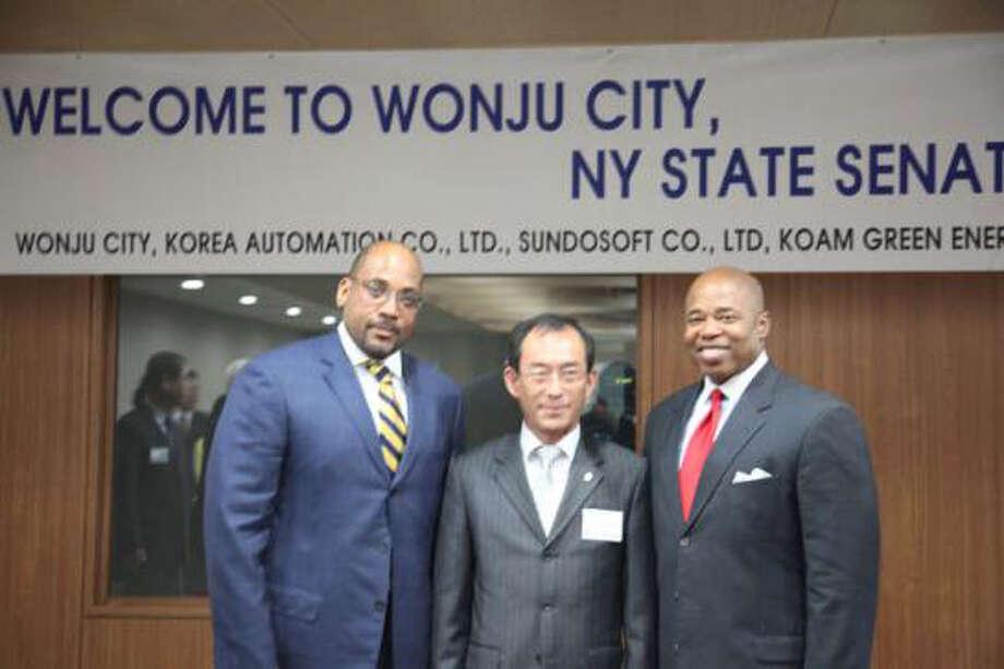 Sen. John Sampson, left, and Sen. Eric Adams, visited Korea in October 2011. / Albany Times Union