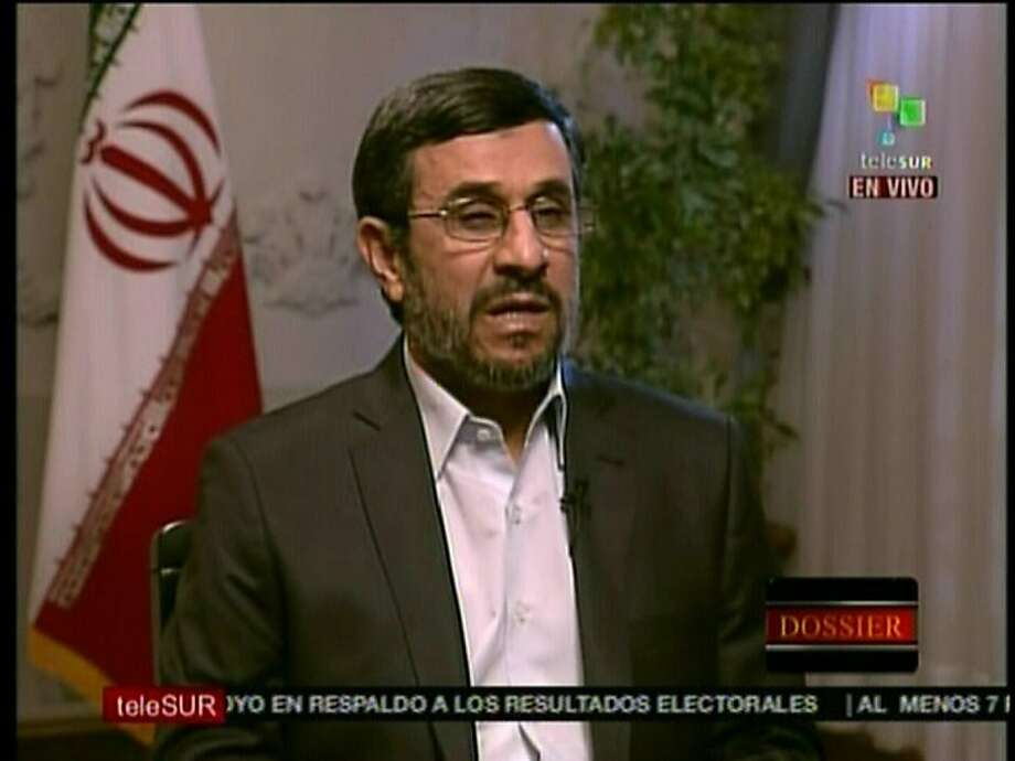 TV Grab of Venezuelan TV channel Telesur broadcasted on December 12, 2011, of Iran's President Mahmoud Ahmadinejad speaking during an interview in Tehran. AFP PHOTO / TELESUR (Photo credit should read --/AFP/Getty Images) Photo: --, AFP/Getty Images
