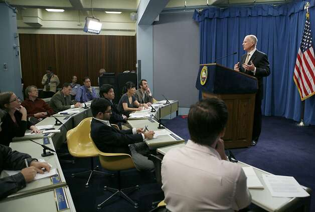 Gov. Jerry Brown speaks about shortfalls in the state budget during a news conference at the Capitol in Sacramento, Calif., on Tuesday, Dec. 13, 2011. Brown said that California needs to make about $1 billion in midyear cuts to schools and social services, as the state's revenues fell about $2.2 billion below the assumptions included in the budget he signed last summer.(AP Photo/Steve Yeater) Photo: Steve Yeater, AP