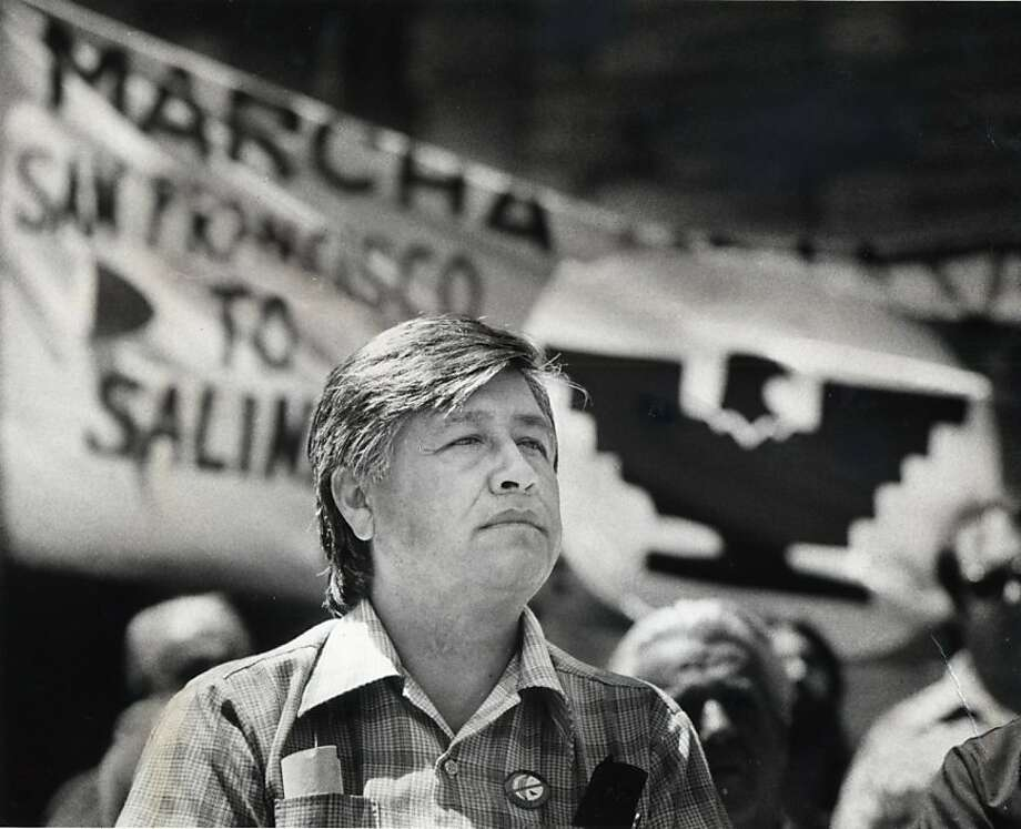 Cesar Chavez speaks at Union Square Aug. 31, 1979.   Ran on: 07-30-2004 Cesar Chavez speaks out for farm workers at a rally in San Francisco's Union Square.  Ran on: 07-30-2004 Cesar Chavez speaks out for farm workers at a rally in San Francisco's Union Square.  Ran on: 12-18-2011 Cesar Chavez, hero of the farmworkers movement, is portrayed in a less flattering light in &quo;Trampling Out the Vintage.'' Ran on: 12-18-2011 Cesar Chavez, hero of the farmworkers movement, is portrayed in a less flattering light in &quo;Trampling Out the Vintage.'' Photo: Michael Maloney, The Chronicle 1979