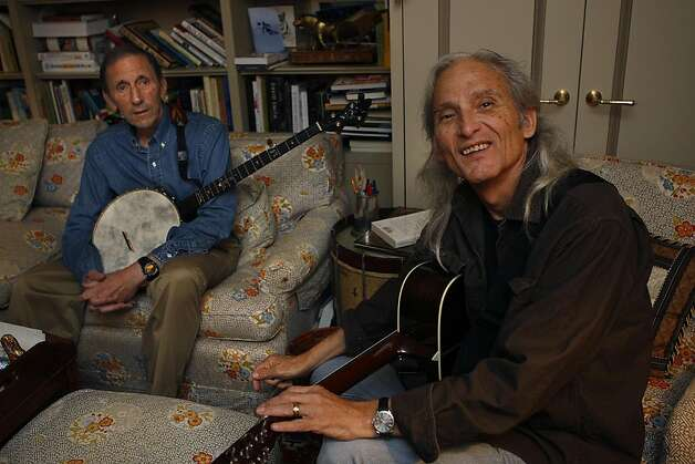 Philanthropist Warren Hellman (left) and legendary Texas country singer Jimmie Dale Gilmore (right) at Hellman's den as they wait for others to arrive for a rehearsal in San Francisco, California on Monday,  June 6, 2011. Hellman usually starts the day at 4am playing the banjo here. Photo: Liz Hafalia, The Chronicle