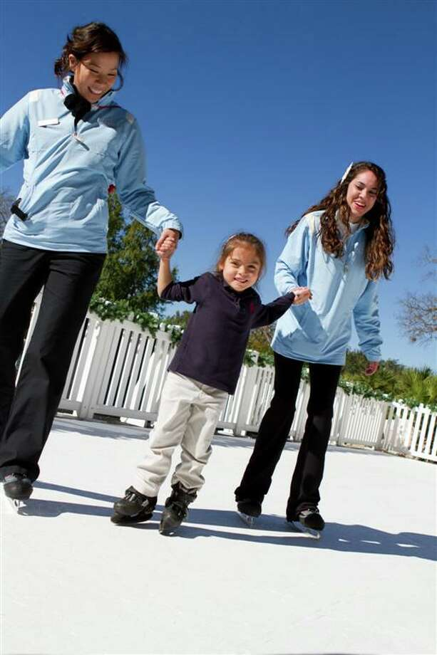 """CHRIS REILLY LACE UP FOR FUN: Skaters can take a spin on the """"iceless"""" rink at the Westin La Cantera Resort."""