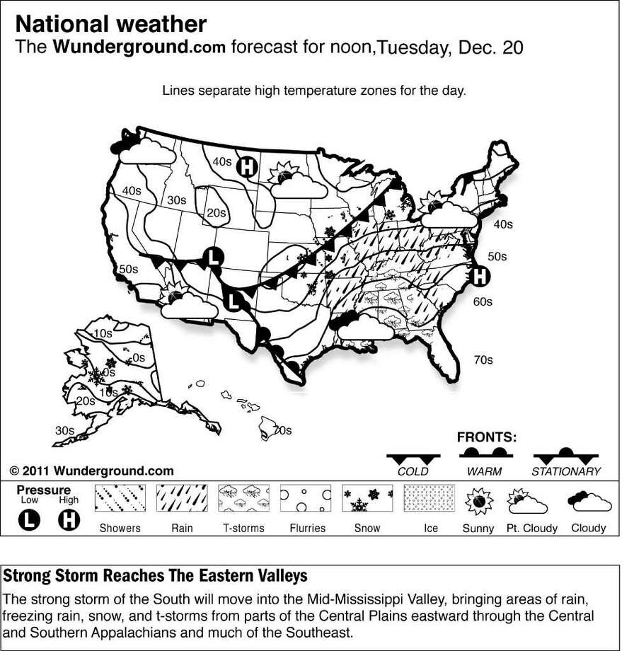 The Weather Underground forecast for Tuesday, Dec. 20, 2011 says strong storm of the South will move into the Mid-Mississippi Valley, bringing areas of rain, freezing rain, snow, and t-storms from parts of the Central Plains eastward through the Central and Southern Appalachians and much of the Southeast.  (AP Photo/Weather Underground)
