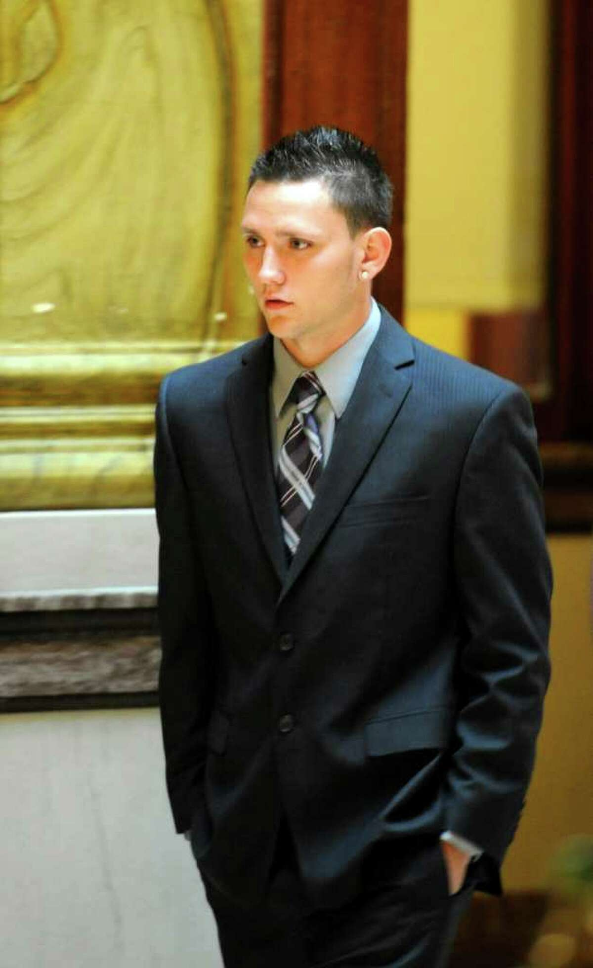 Chad Sandercox, a former Troy High football player, enters the Rensselaer County Courthouse in Troy, N.Y. October 17, 2011. (Skip Dickstein / Times Union archive)