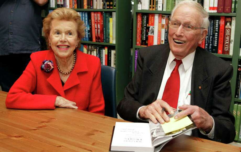 "Louise Cooley, left,  and her husband, Dr. Denton Cooley, during book signing at River Oaks Bookstore, 3270 Westheimer, for Dr. Cooley's book titled  ""100,000 Hearts"" Monday, Dec. 19, 2011, in Houston. Photo: Melissa Phillip, Houston Chronicle / © 2011 Houston Chronicle"