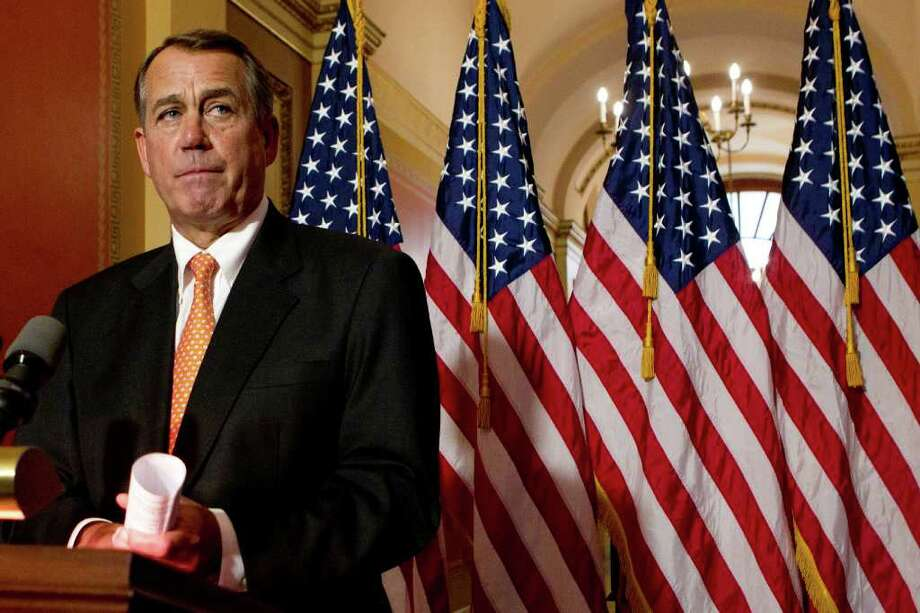 ANDREW HARRER : BLOOMBERG NEWS NEW TALKS: House Speaker John Boehner, R-Ohio, denied Monday that he had been in favor of the two-month stopgap bill before coming out against it. Photo: Andrew Harrer / © 2011 Bloomberg Finance LP
