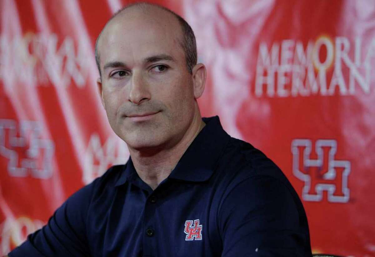 University of Houston interim head football coach Tony Levine during media conference in the Carl Lewis Auditorium of the UH Athletics Alumni Center Saturday, Dec. 10, 2011, in Houston. Former Houston Cougars head coach Kevin Sumlin left to become the head coach at Texas A&M. ( Melissa Phillip / Houston Chronicle )