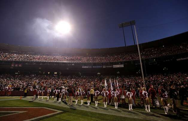 One bank of lights come back on just before the start of the game, as the San Francisco 49ers take on the Pittsburgh Steelers, on Monday December 19, 2011, in San Francisco, Ca. Photo: Michael Macor, The Chronicle